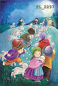 Interlitho, Soledad, CHRISTMAS CHILDREN, naive, paintings, kids, lambs, Holy Family(KL2297,#XK#) Weihnachten, Navidad, illustrations, pinturas