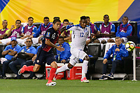 Harrison, NJ - Friday July 07, 2017: Christian Gamboa, Romell Quioto during a 2017 CONCACAF Gold Cup Group A match between the men's national teams of Honduras (HON) vs Costa Rica (CRC) at Red Bull Arena.