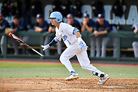 North Carolina Tar Heels center fielder/right fielder Brandon Riley (1) swings at a pitch during a game against the Pittsburgh Panthers at Boshamer Stadium on March 17, 2018 in Chapel Hill, North Carolina. The Tar Heels defeated the Panthers 4-0. (Tony Farlow/Four Seam Images)
