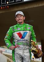 Jul, 22, 2012; Morrison, CO, USA: NHRA funny car driver Jack Beckman celebrates after winning the Mile High Nationals at Bandimere Speedway. Mandatory Credit: Mark J. Rebilas-