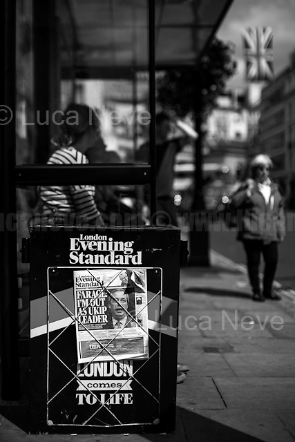 """05.07.2016 - Nigel Farage resigns from UKIP leader.<br /> <br /> London, March-July 2016. Reporting the EU Referendum 2016 (Campaign, result and outcomes) observed through the eyes (and the lenses) of an Italian freelance photojournalist (UK and IFJ Press Cards holder) based in the British Capital with no """"press accreditation"""" and no timetable of the main political parties' events in support of the RemaIN Campaign or the Leave the EU Campaign.<br /> On the 23rd of June 2016 the British people voted in the EU Referendum... (Please find the caption on PDF at the beginning of the Reportage).<br /> <br /> For more information about the result please click here: http://www.bbc.co.uk/news/politics/eu_referendum/results"""