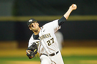 Relief pitcher Niko Spezial #27 of the Wake Forest Demon Deacons in action against the Charlotte 49ers at Gene Hooks Field on March 22, 2011 in Winston-Salem, North Carolina.   Photo by Brian Westerholt / Four Seam Images
