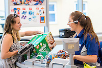 Thursday  21 July 2016<br /> Pictured: Staff Members interact with customers inside the store. Re: ALDI Haverfordwest Grand Re-opening