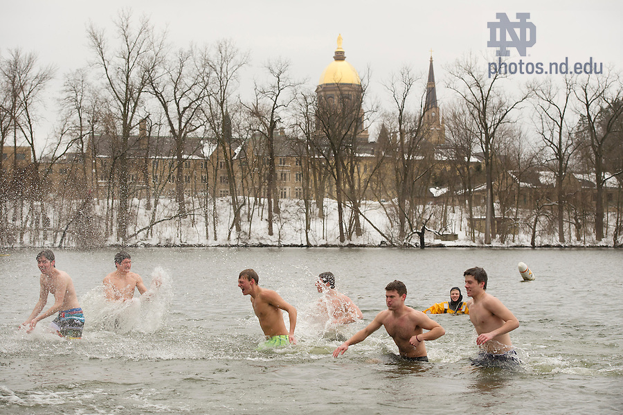 Feb. 23, 2013; 2013 Polar Bear Plunge fundraising event in St. Joseph Lake. The Plunge raises funds for the HOPE Initiative, a charity in Nepal that promotes education and operates an orphanage. Photo by Barbara Johnston/University of Notre Dame