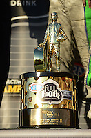 Nov. 11, 2012; Pomona, CA, USA: Detailed view of the NHRA championship trophy won by funny car driver Jack Beckman after clinching the 2012 championship during the Auto Club Finals at at Auto Club Raceway at Pomona. Mandatory Credit: Mark J. Rebilas-