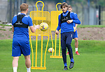 St Johnstone Training....   Murray Davidson pictured with Liam Craig during training at McDiarmid Park ahead of Saturday's game against Rangers.<br />Picture by Graeme Hart.<br />Copyright Perthshire Picture Agency<br />Tel: 01738 623350  Mobile: 07990 594431
