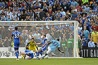 YaYa Toure (42) Manchester City shoots on the Chelsea goal..Manchester City defeated Chelsea 4-3 in an international friendly at Busch Stadium, St Louis, Missouri.