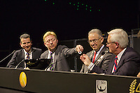 09-02-13, Tennis, Rotterdam, qualification ABNAMROWTT, Draw,l.t.r. tournament director Richard Krajicek, Boris Becker and Mr. Aboutaleb major of Rotterdam