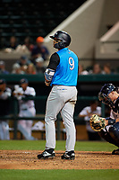Tampa Tarpons left fielder Tyler Hill (9) during a Florida State League game against the Lakeland Flying Tigers on April 5, 2019 at Publix Field at Joker Marchant Stadium in Lakeland, Florida.  Lakeland defeated Tampa 5-3.  (Mike Janes/Four Seam Images)