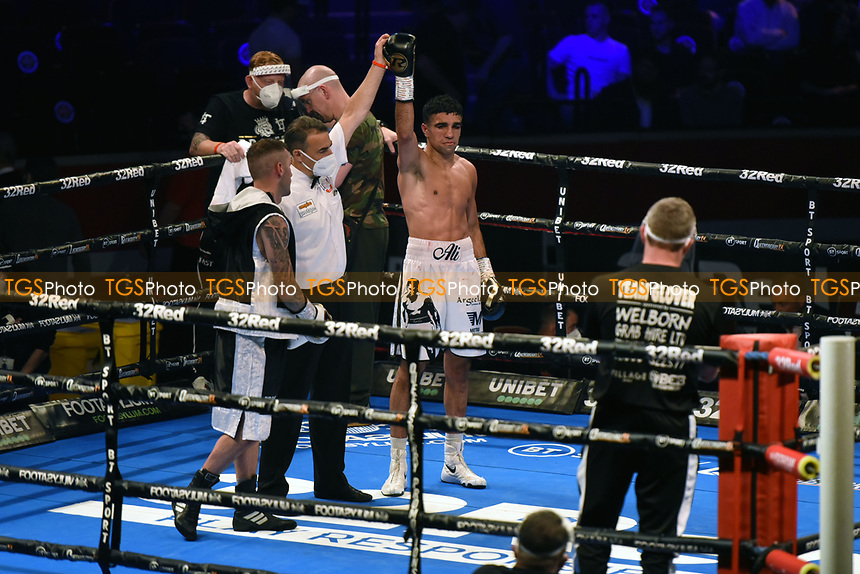 Muhammad Ali (white shorts) defeats Lee Glover during a Boxing Show at the Royal Albert Hall on 10th July 2021