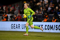 COLUMBUS, OH - NOVEMBER 07: Hedvig Lindahl #1 GK for Sweden runs up field with the ball during a game between Sweden and USWNT at MAPFRE Stadium on November 07, 2019 in Columbus, Ohio.