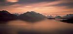 Sunset on Lake Wakatipu in the Otago Regio of New Zealand.