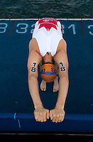 29 JUN 2014 - CHICAGO, USA - Kyle Jones (CAN) of Canada stretches before the start of the swim at the elite men's ITU 2014 World Triathlon Series round in Grant Park, Chicago in the USA (PHOTO COPYRIGHT © 2014 NIGEL FARROW, ALL RIGHTS RESERVED)