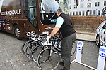 AG2R La Mondiale mechanic lines up the teams Kuoto bikes outside the team bus before the start of the 98th edition of Liege-Bastogne-Liege outside the Palais des Princes-Eveques, running 257.5km from Liege to Ans, Belgium. 22nd April 2012.  <br /> (Photo by Eoin Clarke/NEWSFILE).