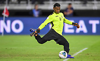 WASHINGTON, D.C. - OCTOBER 11: Nelson Johnston #21 of Cuba sends a goal kick downfield during their Nations League game versus USA at Audi Field, on October 11, 2019 in Washington D.C.