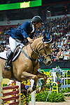 16 April 2009: Darragh Kerins (IRL) and Night Train at the Rolex World Cup Jumping Final I.