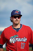 Fort Myers Miracle pitcher Tom Hackimer (17) during introductions before a Florida State League game against the Charlotte Stone Crabs on April 6, 2019 at Charlotte Sports Park in Port Charlotte, Florida.  Fort Myers defeated Charlotte 7-4.  (Mike Janes/Four Seam Images)