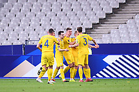 24th March 2021; Stade De France, Saint-Denis, Paris, France. FIFA World Cup 2022 qualification football; France versus Ukraine;   Ukraine team celebrate their goal scored by Serhiy Sydorcuk (Ukraine)