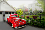 Blurred in photoshop of vintage red Ford pickup truck with Coca-Cola cooler in Mt. Lebanon