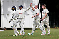 Paul Crane of Hornchurch Athletic celebrates with his team mates after taking the wicket of Khan during Barking CC (batting) vs Hornchurch Athletic CC, Hamro Foundation Essex League Cricket at Mayesbrook Park on 31st July 2021