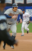 3 April 2006: Nick Johnson, first baseman for the Washington Nationals hustles on the basepath during Opening Day against the New York Mets at Shea Stadium, in Flushing, New York. The Mets defeated the Nationals 3-2 to lead off the 2006 MLB season...Mandatory Photo Credit: Ed Wolfstein Photo..