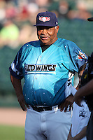 Rochester Red Wings hitting coach Floyd Rayford #50 during a game against the Indianapolis Indians at Frontier Field on June 18, 2011 in Rochester, New York.  Rochester defeated Indianapolis 12-7 on Star Wars night where the team wore special jerseys.  (Mike Janes/Four Seam Images)