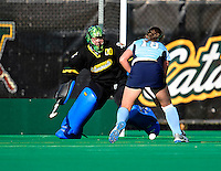 25 October 2009: University of Vermont Catamount goalkeeper Brooke Crane, a Sophomore from Lancaster, NH, in action against the Columbia University Lions at Moulton Winder Field in Burlington, Vermont. The Lions shut out the Catamounts 1-0. Mandatory Credit: Ed Wolfstein Photo