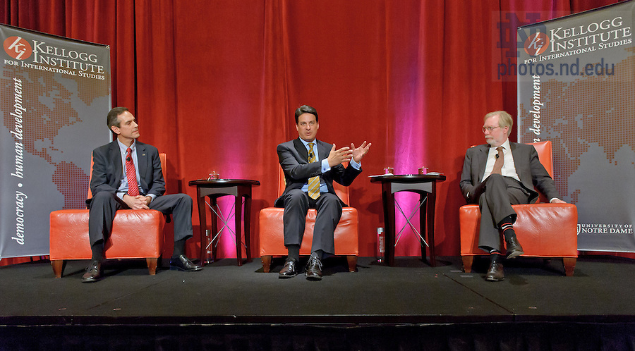 Oct. 4, 2012; (l-r) Sean Callahan, executive vice president of Overseas Operations at Catholic Relief Services, Paolo Carozza, director of the Kellogg Institute, and Paul Collier, director of the Centre for the Study of African Economies at Oxford University discuss the role of U.S. foreign policy in international development at an event hosted by the Kellogg Institute and the Ford Family Program as part of the academic programs of the Shamrock Series football weekend in Chicago...Photo by Matt Cashore/University of Notre Dame