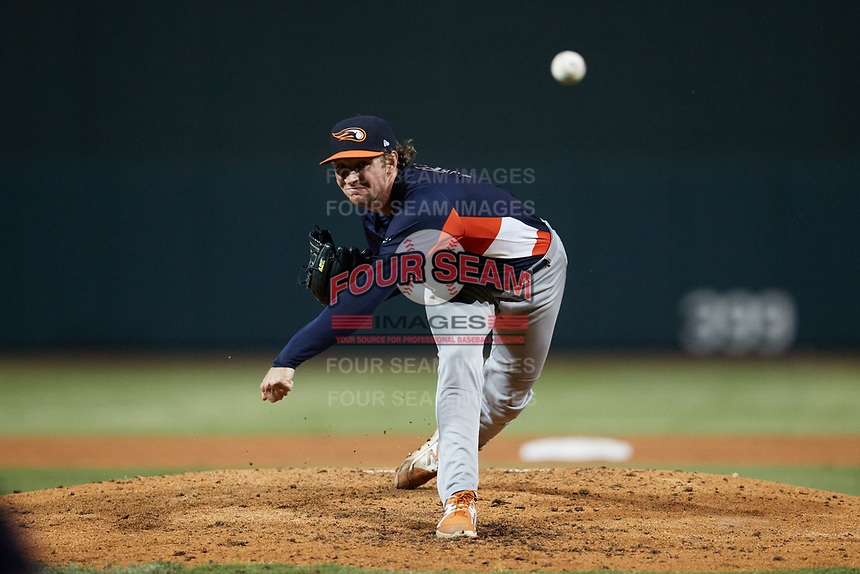 Bowling Green Hot Rods starting pitcher John Doxakis (13) delivers a pitch to the plate against the Winston-Salem Dash at Truist Stadium on September 7, 2021 in Winston-Salem, North Carolina. (Brian Westerholt/Four Seam Images)