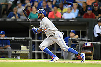 Toronto Blue Jays shortstop Jose Reyes (7) at bat during a game against the Chicago White Sox on August 15, 2014 at U.S. Cellular Field in Chicago, Illinois.  Chicago defeated Toronto 11-5.  (Mike Janes/Four Seam Images)