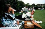 Glyndebourne Festival Opera  al fresco picnic gardens garden during interval East Sussex UK 1980s.