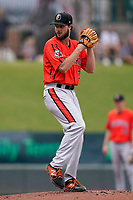 Pitcher Kevin Magee (36) of the Aberdeen IronBirds in a game against the Greenville Drive on Sunday, July 11, 2021, at Fluor Field at the West End in Greenville, South Carolina. (Tom Priddy/Four Seam Images)