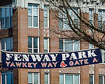 Signage at Fenway Park, home of the Boston Red Sox, Boston, Massachusetts, USA