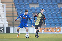 James Barrigan, Marine AFC lays the ball off under pressure during Colchester United vs Marine, Emirates FA Cup Football at the JobServe Community Stadium on 7th November 2020