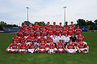 Batavia Muckdogs team photo on July 8, 2015 at Dwyer Stadium in Batavia, New York.  First row:  Blake Anderson, Giovanny Alfonzo, Anfernee Seymour, Joseph Chavez, Kyle Barrett, Travis Brewster, Cameron Newell, Travis Neubeck;  Second row:  Gabriel Castellanos, Ayron Adames, coach Steven Suarez, hitting coach Rigoberto Silverio, manager Angel Espada, pitching coach Brendan Sagara, strength coach Adam Brown, trainer Eric Reigelsberger, Video Coordinator, clubhouse manager John Versage, Korey Dunbar;  Third row:  Stone Garrett, LJ Brewster, Steven Farnworth, Nick White, Scott Squier, Justin Jacome, Ryan Hafner, Jordan Holloway, Justin Langley, Ryan Cranmer;  Fourth row:  Cody Poteet, Jordan Hillyer, Brett Lilek, Nestor Bautista, Eric Fisher, Brad Haynal, Jeffrey Kinley, Galvi Moscat, Brandon Rawe  (Mike Janes/Four Seam Images)