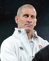 Stuart Lancaster, England Team Manager, looks dejected after the QBE International match between England and New Zealand at Twickenham Stadium on Saturday 8th November 2014 (Photo by Rob Munro)