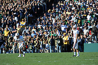 South Bend, IN - OCTOBER 4:  Wide receiver Nate Wilcox-Fogel #85 and kicker Aaron Zagory #11 of the Stanford Cardinal during Stanford's 28-21 loss against the Notre Dame Fighting Irish on October 4, 2008 at Notre Dame Stadium in South Bend, Indiana.