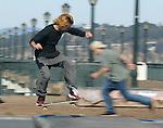 Skateboarding is popular at Pier 7 in San Francisco, California.