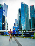 Runners participate at the Bloomberg Square Mile Relay Singapore on 3rd December 2015 at The Promontory @ Marina Bay in Singapore. Photo by Victor Fraile / Power Sport Images