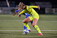 Lobke Loonen (19) of AA Gent battles for the ball with Fleur Pauwels (66) of KRC Genk pictured during a female soccer game between  Racing Genk Ladies and AA Gent Ladies ,  on the 6 th  matchday of the 2021-2022 season of the Belgian Scooore Womens Super League , friday 8 october 2021  in Genk , Belgium . PHOTO SPORTPIX | JILL DELSAUX