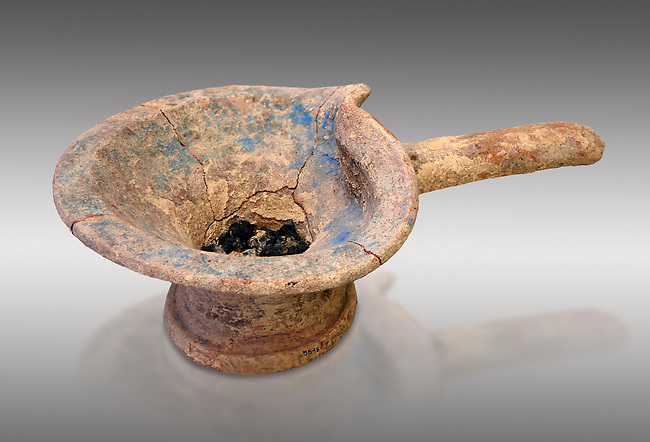 Minoan brazier cult vessel for burning offerings with charcoal,  1400-1350 BC,  Heraklion Archaeological  Museum , grey background.<br /> <br /> These brazier cult vessels were used to burn offerings in the chamber tombs for purification