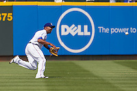 Round Rock Express outfielder Joey Butler #16 runs after a fly ball against the New Orleans Zephyrs in the Pacific Coast League baseball game on April 21, 2013 at the Dell Diamond in Round Rock, Texas. Round Rock defeated New Orleans 7-1. (Andrew Woolley/Four Seam Images).