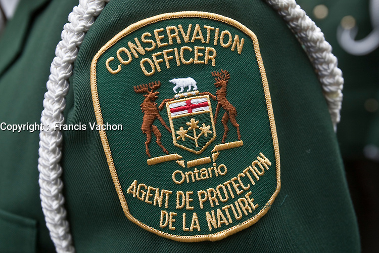Conservation Officer badge is seen during a police memorial parade in Ottawa Sunday September 26, 2010.