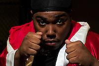 October 13, 2012, Delran, New Jersey, USA: Portrait of Derek Frazier, son of Joe Frazier at It's On Boxing/MMA.