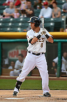 Taylor Lindsey (8) of the Salt Lake Bees at bat against the Fresno Grizzlies at Smith's Ballpark on April 9, 2014 in Salt Lake City, Utah.  (Stephen Smith/Four Seam Images)