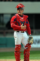 Catcher Mike McKenry#5 of the Pawtucket Red Sox during a game versus the Syracuse Chiefs on April 21, 2011 at McCoy Stadium in Pawtucket, Rhode Island. Photo by Ken Babbitt /Four Seam Images