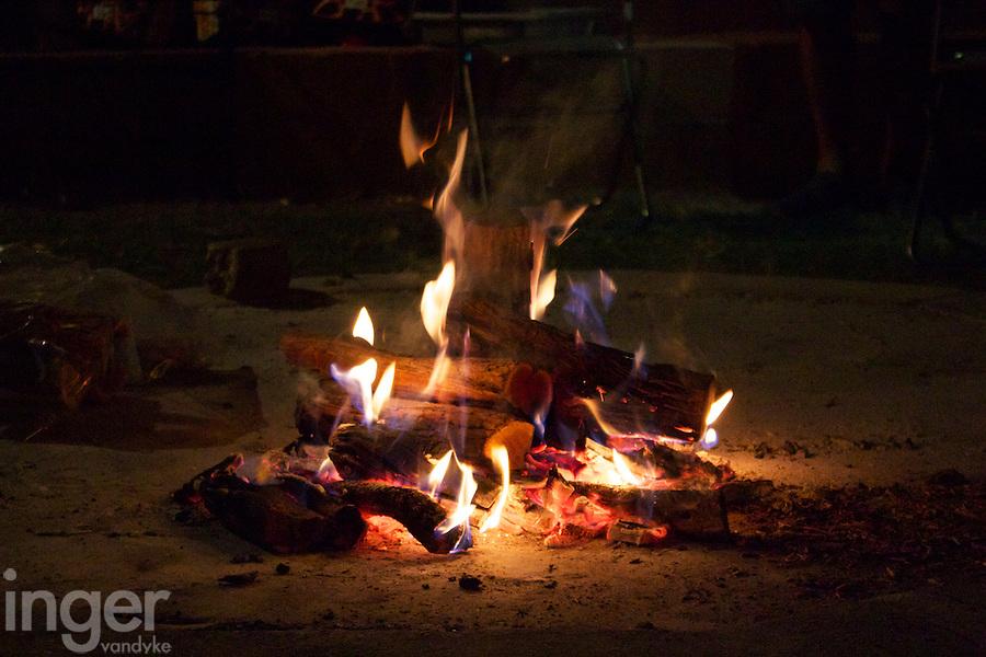 Campfire beside Orange River, Namibia