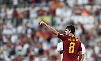 Calcio, Serie A: Roma, stadio Olimpico, 28 maggio 2017.<br /> AS Roma's Diego Perotti celebrates after scoring during the Italian Serie A football match between AS Roma and Genoa at Rome's Olympic stadium, May 28, 2017.<br /> Francesco Totti's final match with Roma after a 25-season career with his hometown club.<br /> UPDATE IMAGES PRESS/Isabella Bonotto