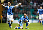 Celtic v St Johnstone...23.01.16   SPFL  Celtic Park, Glasgow<br /> Michael O'Halloran and David Wotherspoon appeal to referee Kevin Clancy after O'Halloran was brought down by Jozo Simunovic<br /> Picture by Graeme Hart.<br /> Copyright Perthshire Picture Agency<br /> Tel: 01738 623350  Mobile: 07990 594431