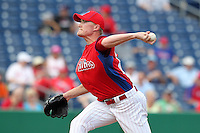 Philadelphia Phillies pitcher Jake Diekman #63 delivers a pitch during a scrimmage against the Florida State Seminoles at Brighthouse Field on February 29, 2012 in Clearwater, Florida.  Philadelphia defeated Florida State 6-1.  (Mike Janes/Four Seam Images)